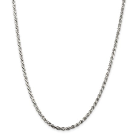 """925 Sterling Silver 3mm Diamond-Cut Rope Necklace Chain -22"""" (22in x 3mm)"""