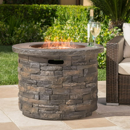 Blaeberry Outdoor Circular Natural Stone Fire Pit