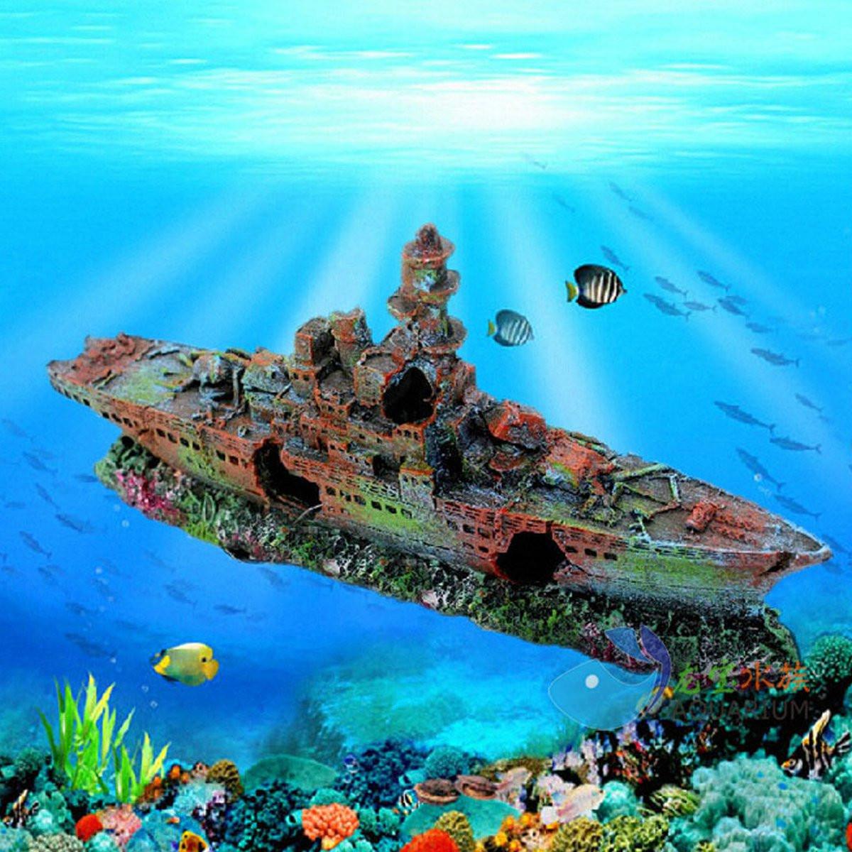 Aquarium Destroyer Navy War Boat Ship Wreck Fish Tank Cave Decoration Ornament