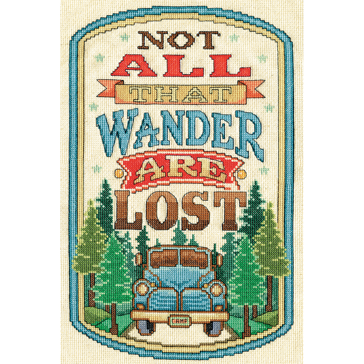 """Design Works Counted Cross Stitch Kit 8""""X12""""-All That Wander (14 Count)"""