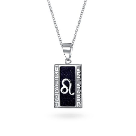 - Blue Goldstone Leo Zodiac Pendant Necklace 925 Silver 18in