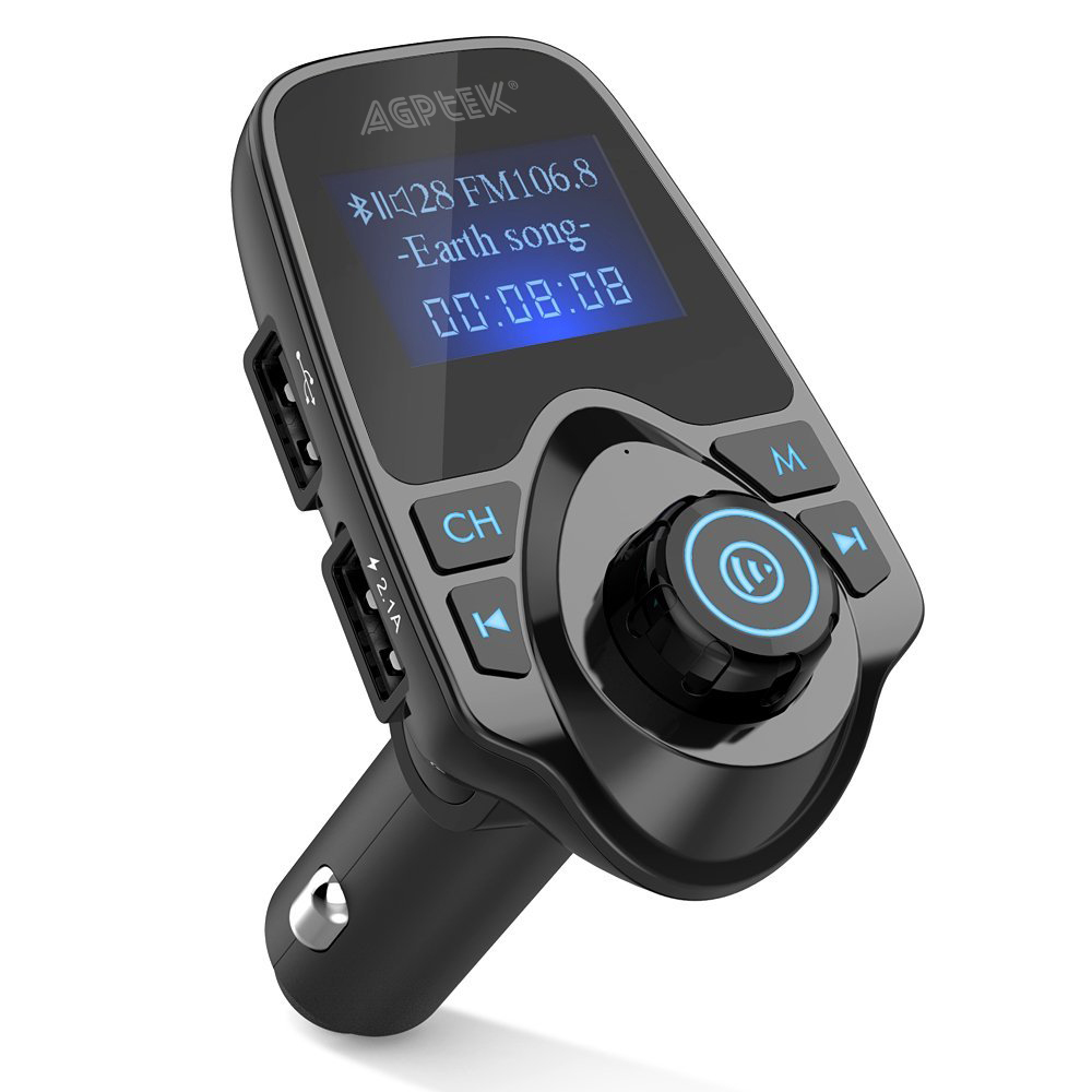 AGPtek Wireless In-Car Bluetooth FM Transmitter Radio Adapter Car Kit MP3 Player USB Car Charger