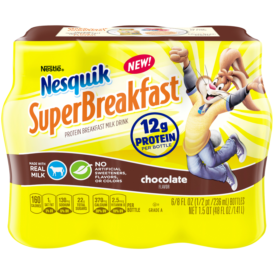 NESTLE NESQUIK SuperBreakfast Chocolate Protein Breakfast Milk Drink 48 fl. oz. Pack
