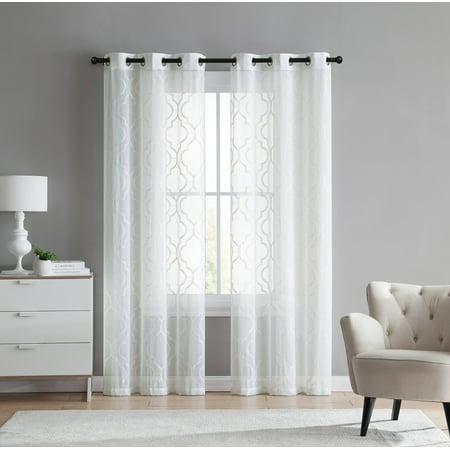 - 2 Pack: VCNY Home Charlotte Semi Sheer Trellis Grommet Top Curtain Panels - (White, 96 in. L)