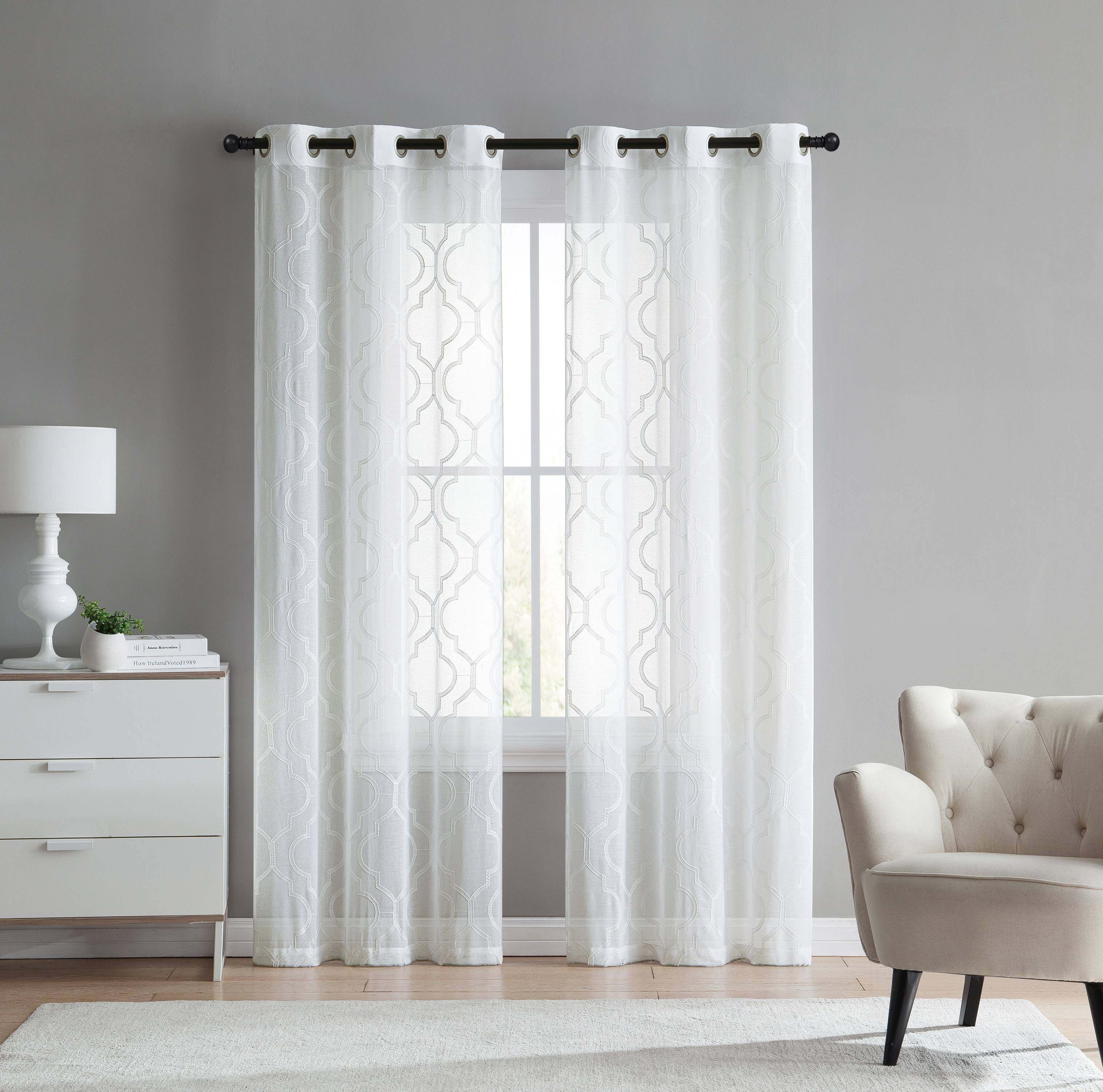 2 pack vcny home charlotte semi sheer trellis grommet top curtain panels white