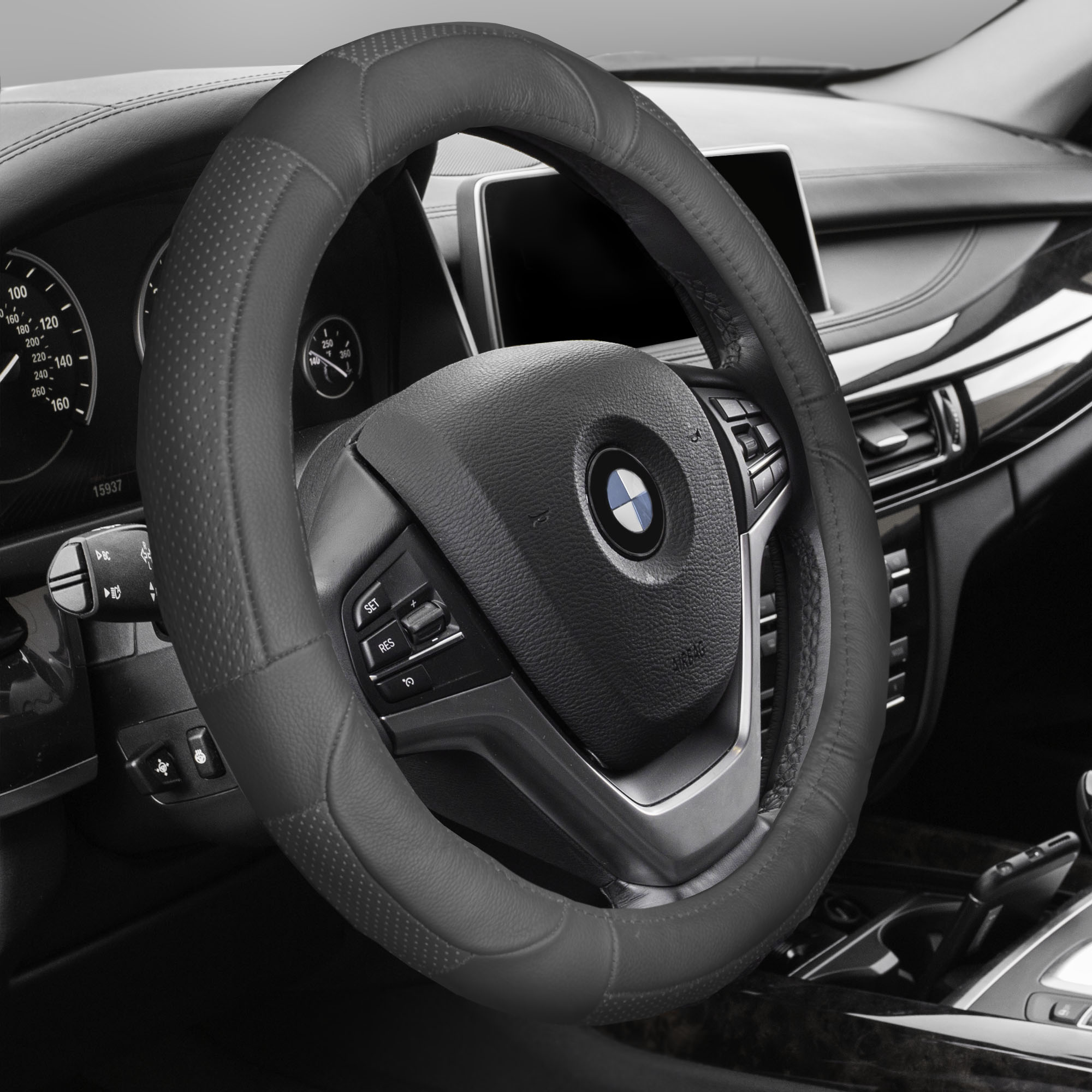 FH GROUP Premium Genuine Full Grain Leather Steering Wheel Cover, Solid Gray