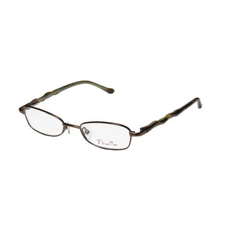New Thalia Trenza Womens/Ladies Designer Full-Rim Brown / Havana Unique Design With Silicone Nose Pads Frame Demo Lenses 46-16-130 Spring Hinges (Havana Lens Brown Gradient Frame)