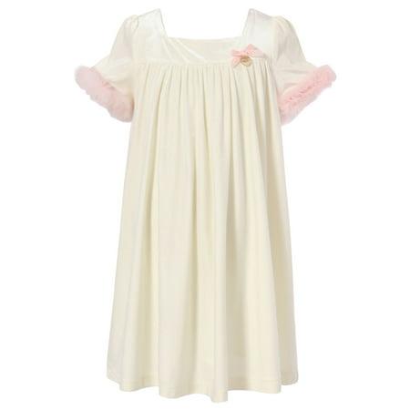 - Richie House Little Girls Beige Short Fur Dress 4