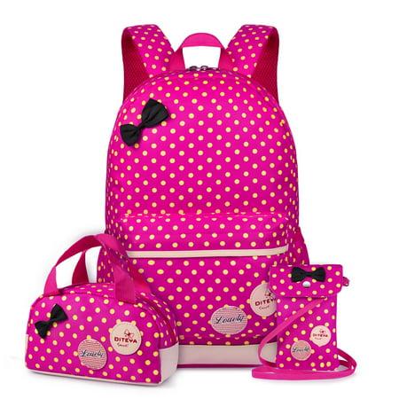 Vbiger Set 3 Polka Dot Waterproof Nylon Backpack Casual Bookbags School Bags Shoulder Wallet Bag (Rose Red)