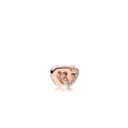 Interlocked hearts petite element in Rose w/clear CZ Charm 786300CZ