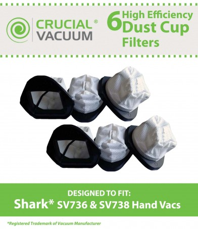 3//12 Pack For Shark SV736 SV748 SV738 SV780 Dust Cup Filters Part XSB726N XF769