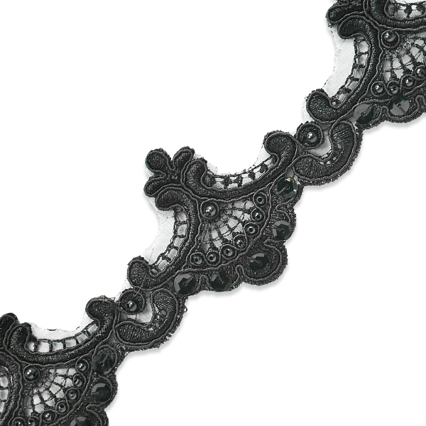 Expo Int'l 2 yards of Vanessa Embroidered Lace Trim with Pearls and Sequin