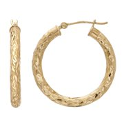 10kt Yellow Gold Polished and Diamond Cut Round Hoop Earrings