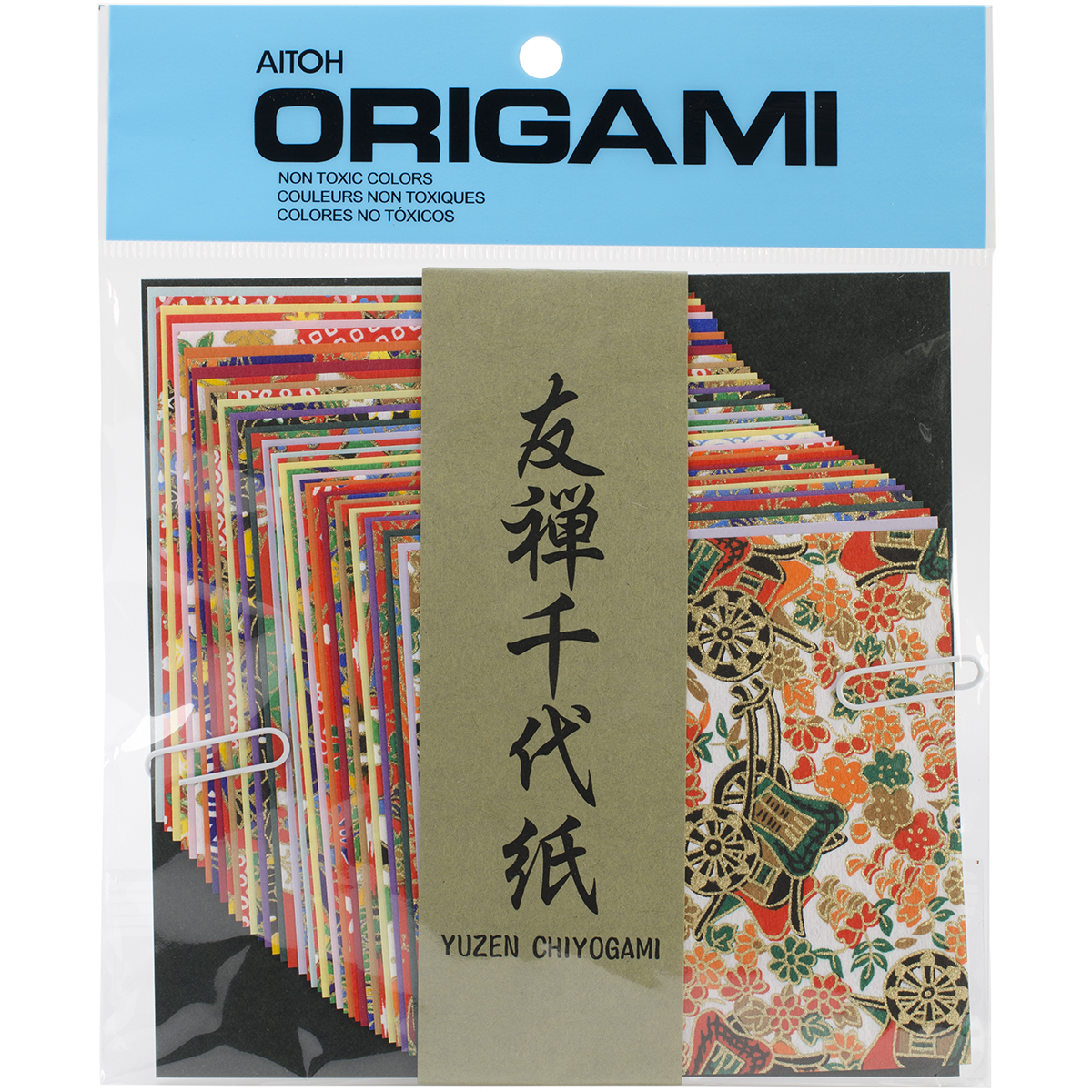 Aitoh Yuzen Washi Chiyogami Origami Paper, 4 by 4-Inch, 40-Pack Multi-Colored