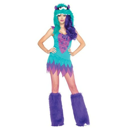 2PC.Fuzzy Frankie Dress Costume w/ furry monster Hood (Monster High Womens Costumes)