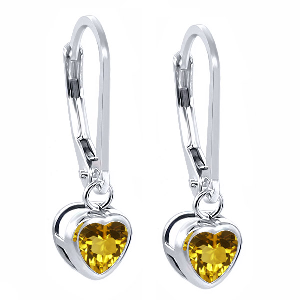 0.92 Ct Heart Shape Yellow Citrine 925 Sterling Silver Earrings