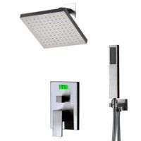 Digital Display and Thermal Backlight Chrome Shower Faucet with Sprayer