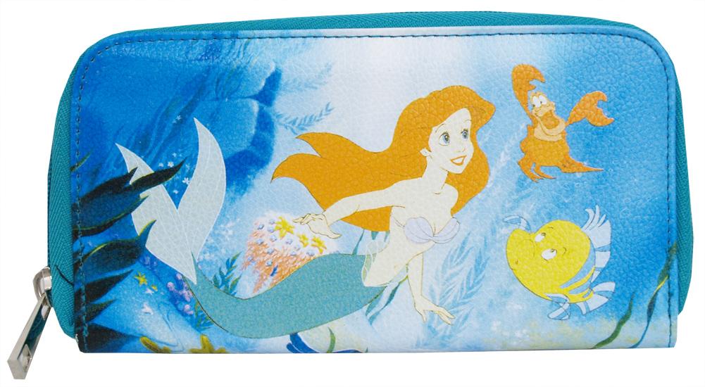 Little Mermaid Ariel Sebastian Flounder Animated Disney Movie Zip Around Wallet by