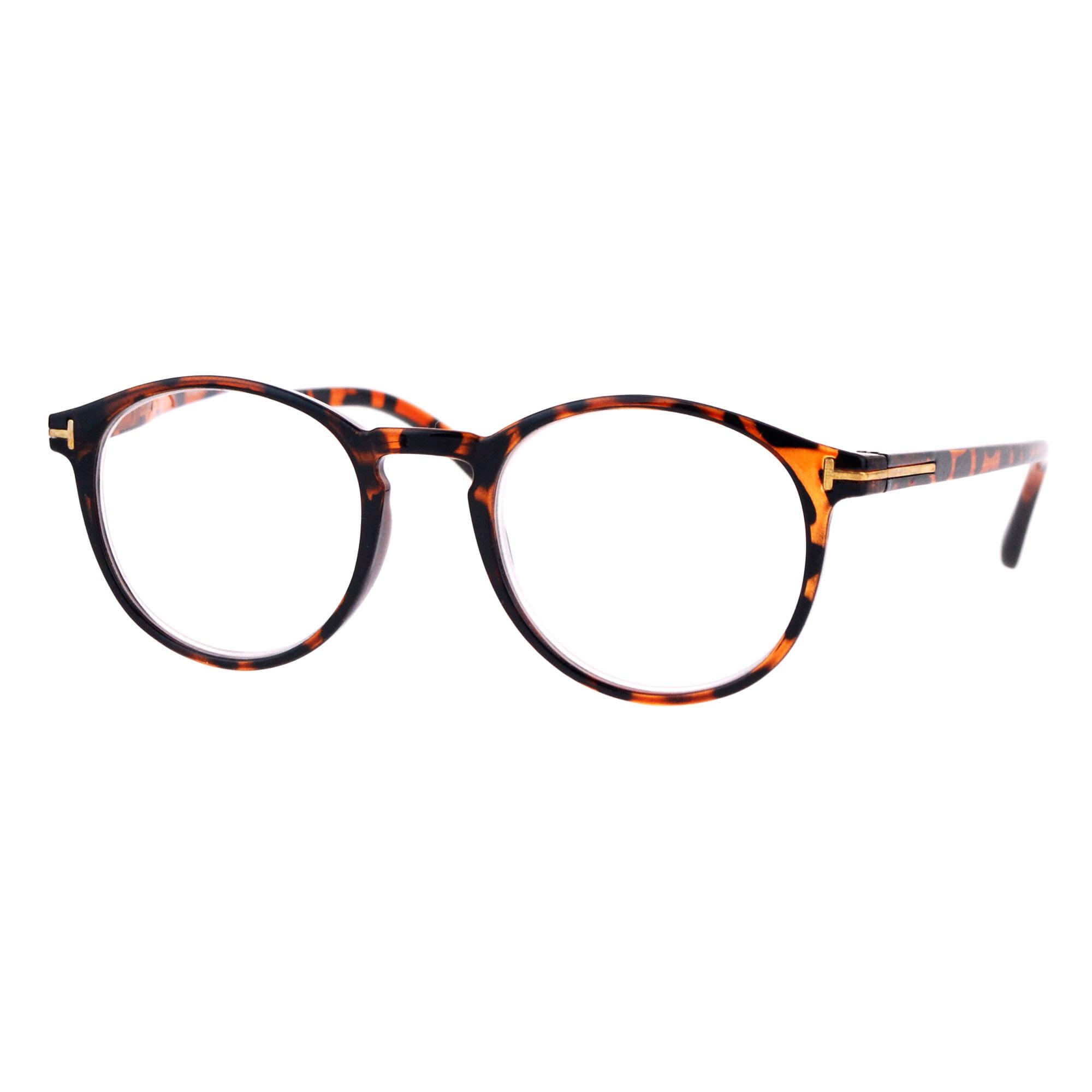 d90e5920bc44 Retro Round Keyhole Thin Horn Rim Plastic Reading Glasses Tortoise +1.0 -  Walmart.com