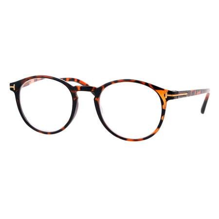 Retro Round Keyhole Thin Horn Rim Plastic Reading Glasses Tortoise (Brown Round Glasses)