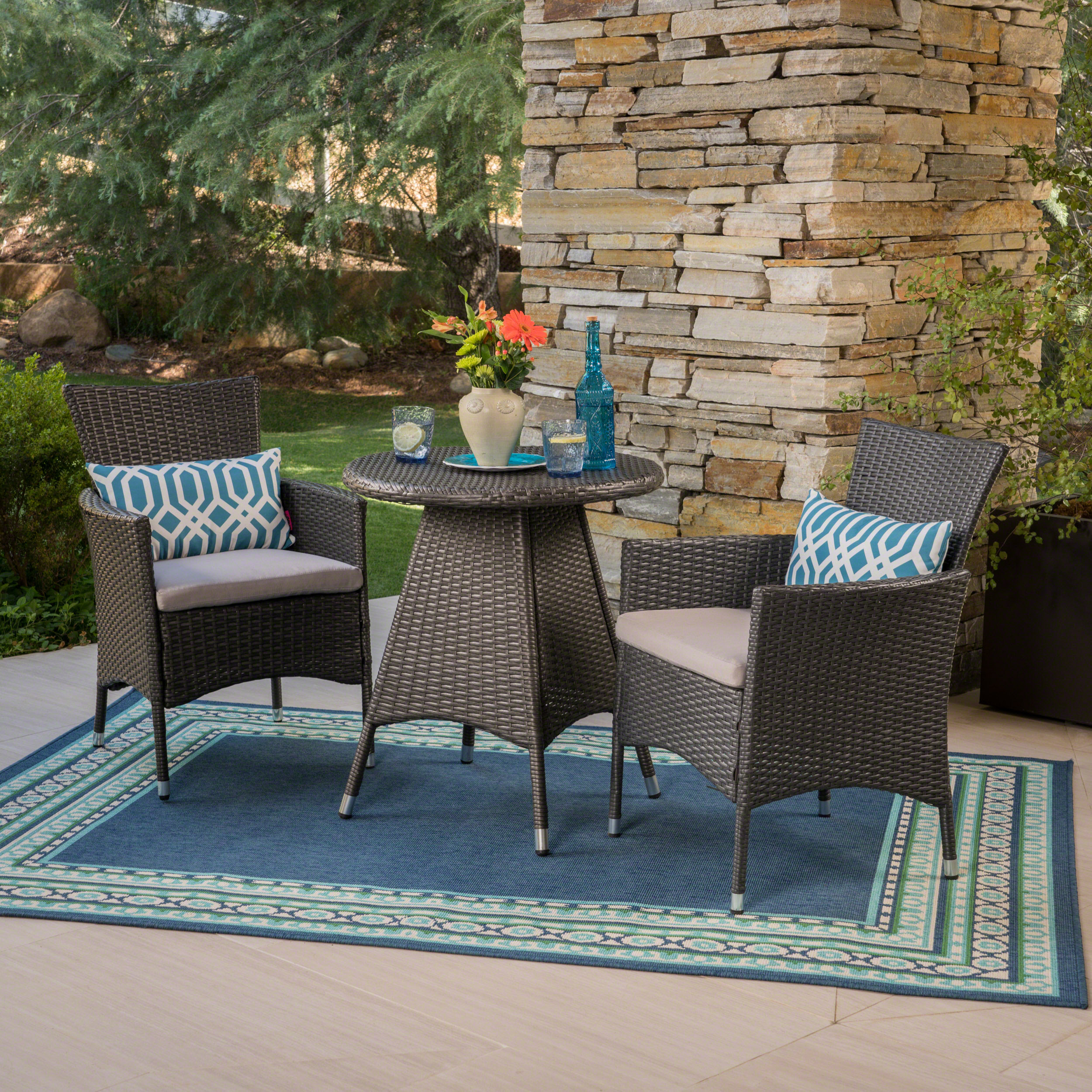 Frank Outdoor 3 Piece Wicker Bistro Set, Grey with Silver Cushions