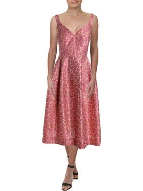Jill Stuart Womens Jacquard Sleeveless Midi Dress