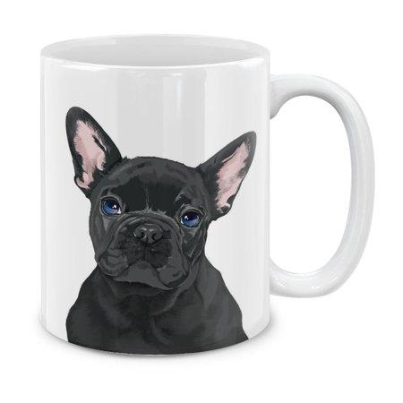 MUGBREW 11 Oz Ceramic Tea Cup Coffee Mug, French Bulldog Puppy Dog Black