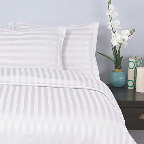 Elegant Comfort® Silky-Soft 1500 Thread Count  Wrinkle-Free 6-Piece STRIPE Sheet Set, Queen, White