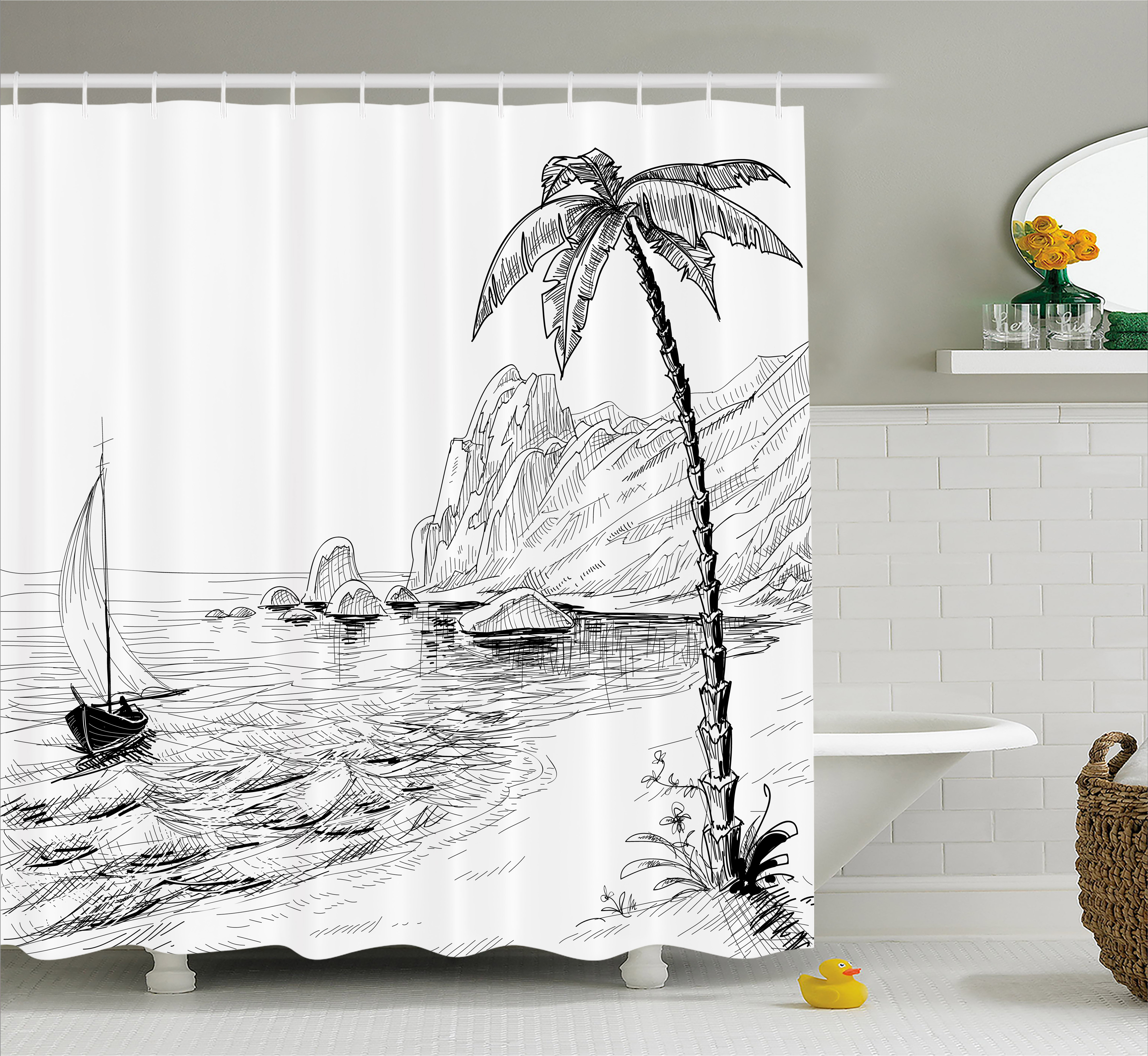 Black And White Decorations Shower Curtain, Sea Coast Beach With Palm Tree  Boat And Hills