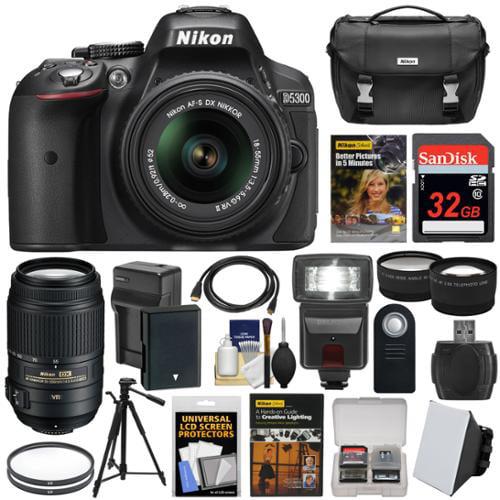 Nikon D5300 Digital SLR Camera & 18-55mm VR II & 55-300mm VR DX Lens, 32GB, DVD & Case + Battery & Charger + Filters + Flash + Tripod + 2 Lens Kit
