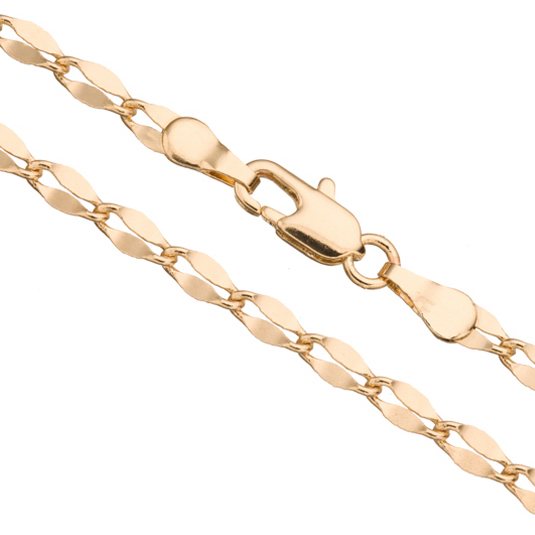 Helix Chain Necklace With Lobster Claw Clasp 24Inch 14K Gold Finished Brass 3mm Chain Width 1pcs/pack (3-Chain Value Bundle), SAVE $2