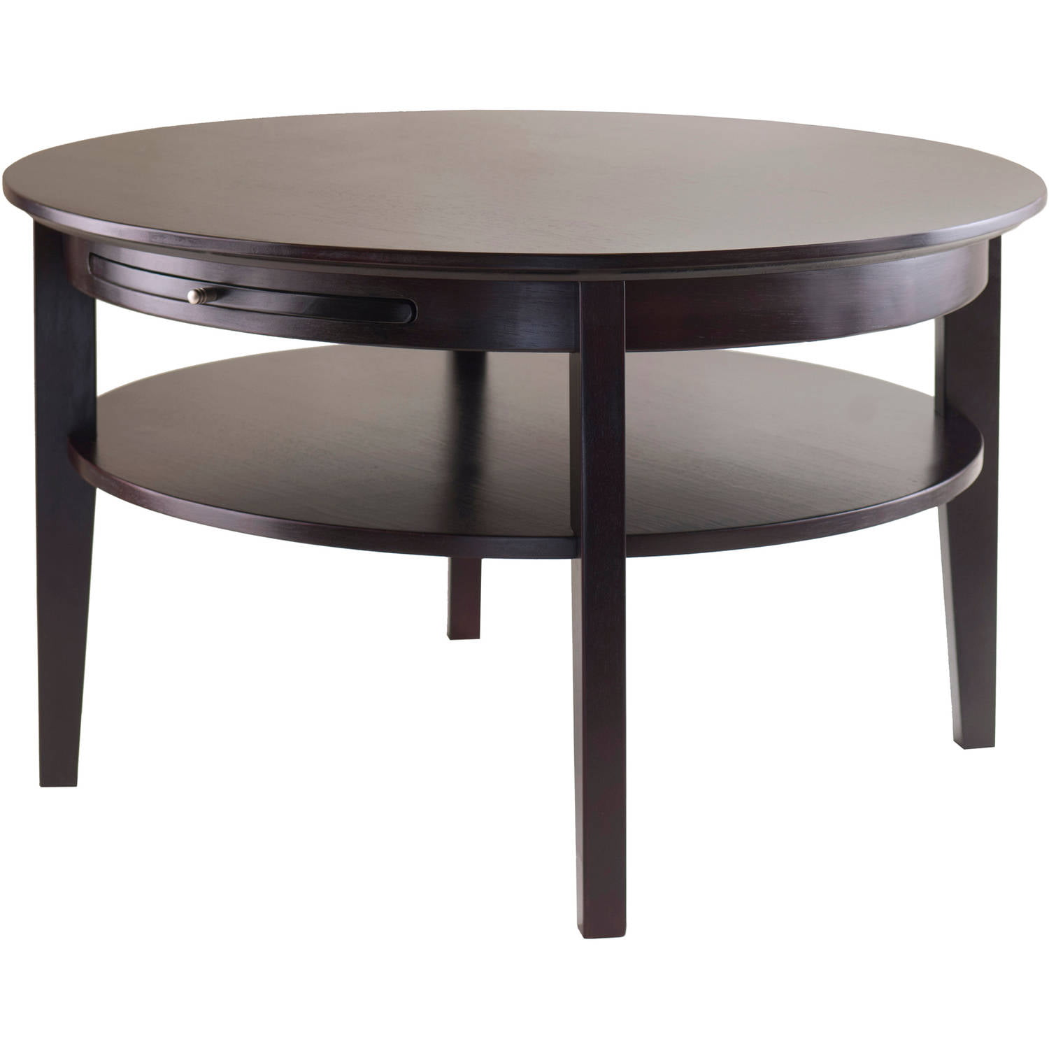Winsome Wood Amelia Round Coffee Table With Pull Out Tray Espresso Finish Com