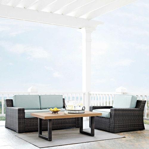 Crosley Furniture KO70101BR Beaufort 3-Piece Rattan Wicker Outdoor Seating Set (Brown/Mist)