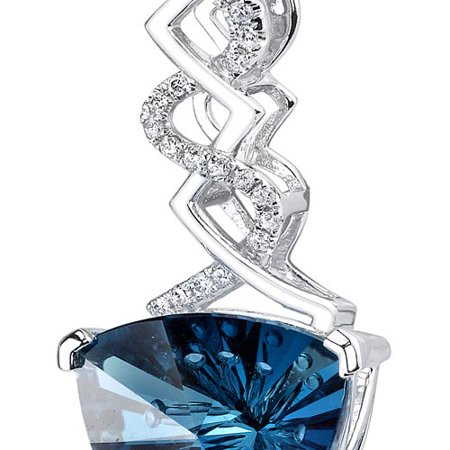Peora 14 Karat White Gold Trillion Cut 6.07 carats London Blue Topaz Diamond (Topaz Trillion Pendant)