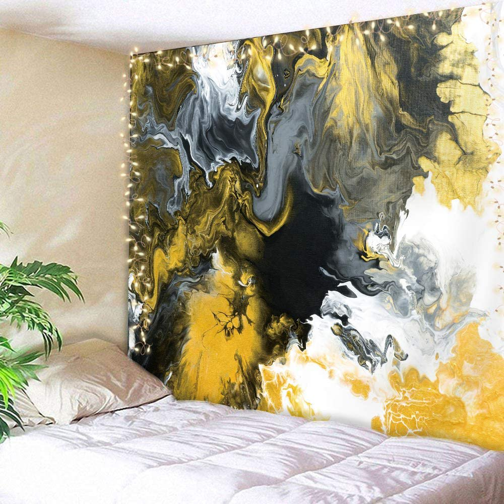 Black Gold Marble Tapestry 59hx78w Inch Retro Abstract Acrylic Texture White Grey Yellow Luxurious Graphic Print Artwork Modern Fashion Wall Hanging Bedroom Living Room Dorm Decor Fabric Walmart Canada