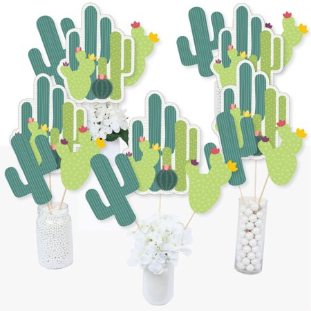 Prickly Cactus Party - Fiesta Party Centerpiece Sticks - Table Toppers - Set of 15