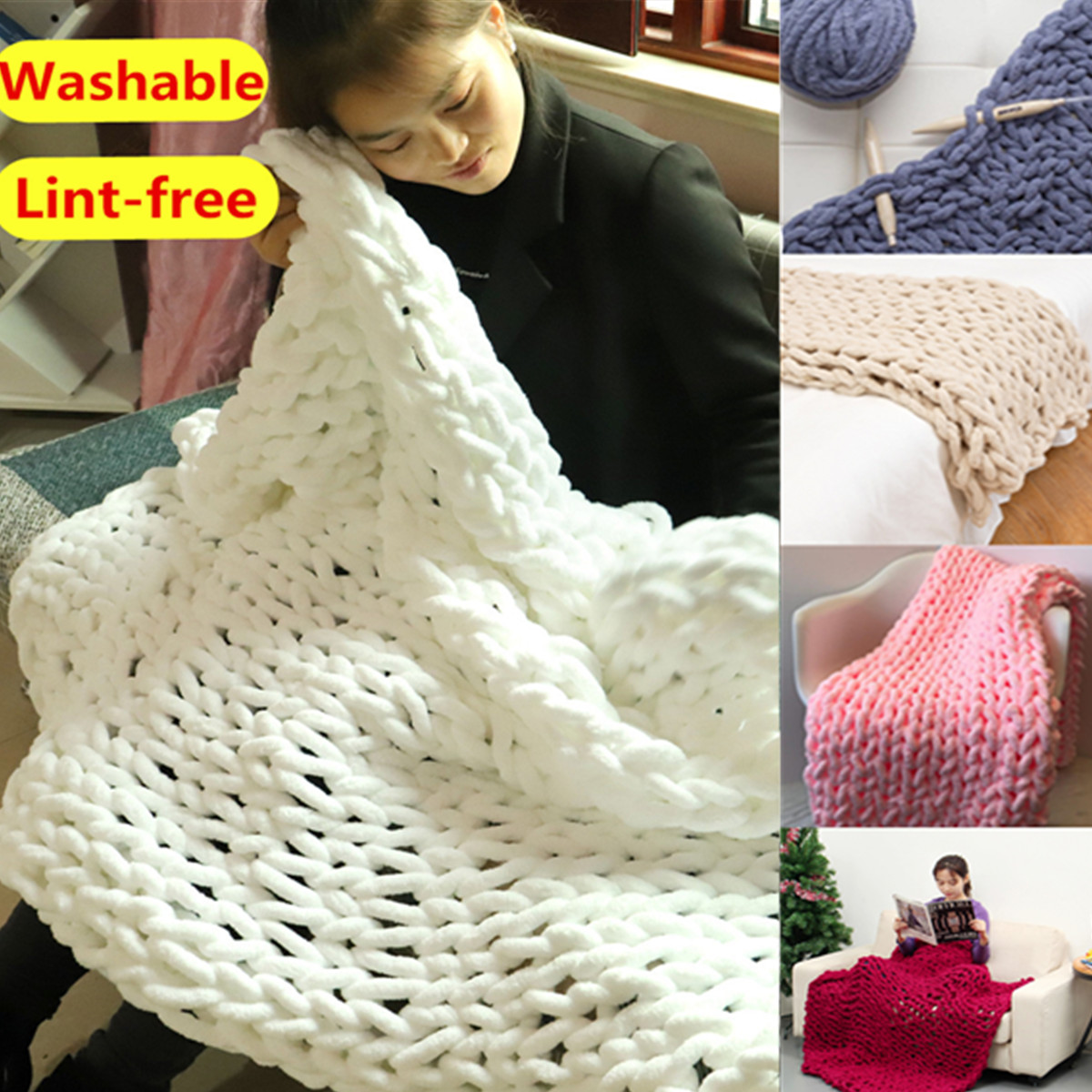 5 Sizes Washable Hand Chunky Knitted Bed Blanket Lint-free Thick Bulky Knitting Sofa Throw Rug Child Play Mat