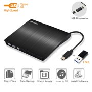 External CD DVD Drive, USB C Superdrive for PC Laptop USB3.0 Compact CD