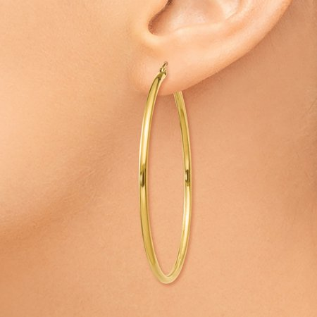 14K Yellow Gold Polished 2mm Round Hoop Earrings - image 3 of 4
