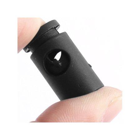 Seul trou en plastique à ressort verrouillage à bascule Cordon noir 7 mm diamètre 20pcs - image 2 de 3