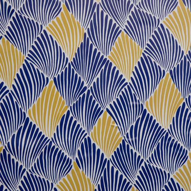 Blue And Yellow Art Deco Fan Peel And Stick Wallpaper By Drew Barrymore Flower Home Walmart Com Walmart Com
