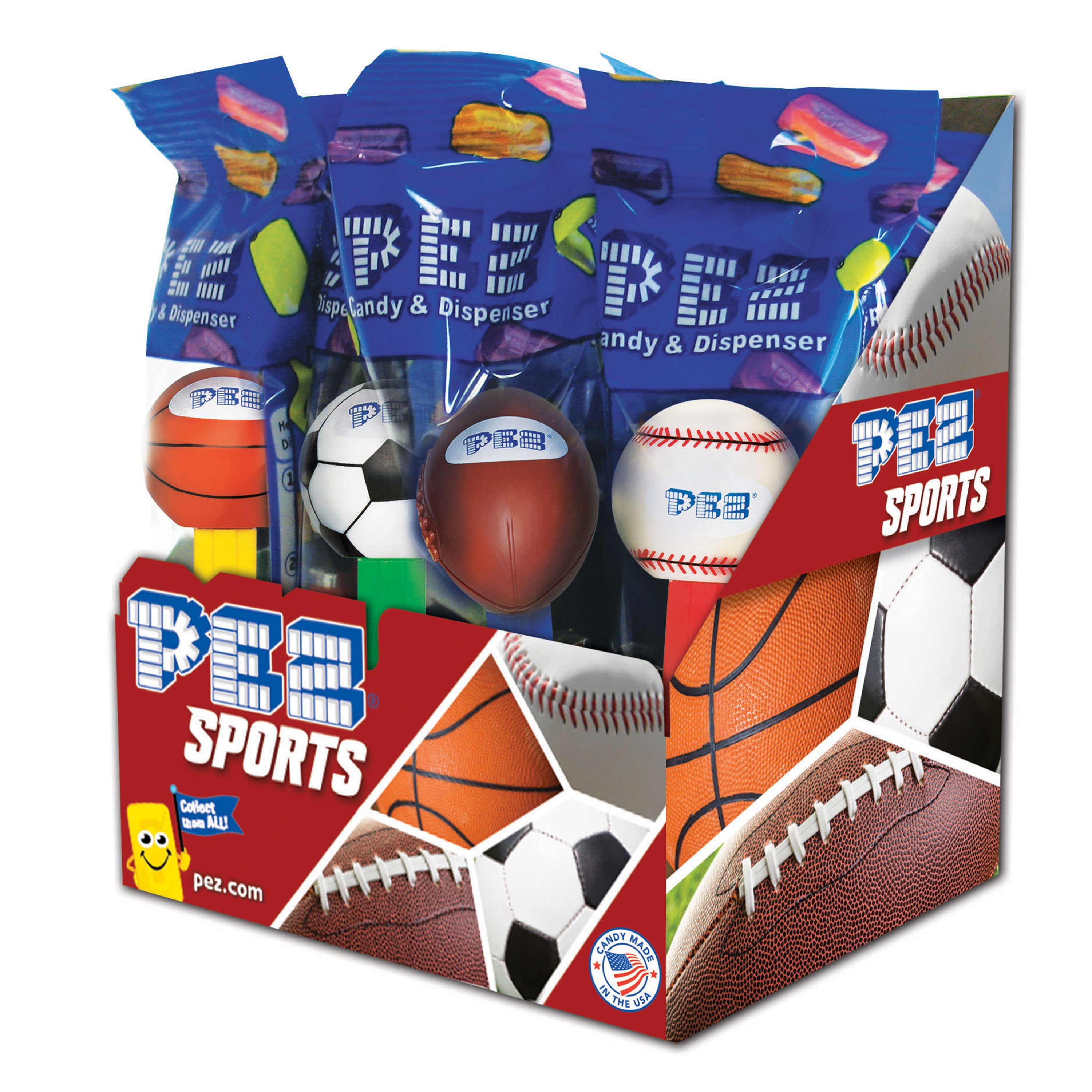 PEZ Candy PEZ Sports Assortment, candy dispenser plus 2 rolls of assorted fruit candy, box of 12