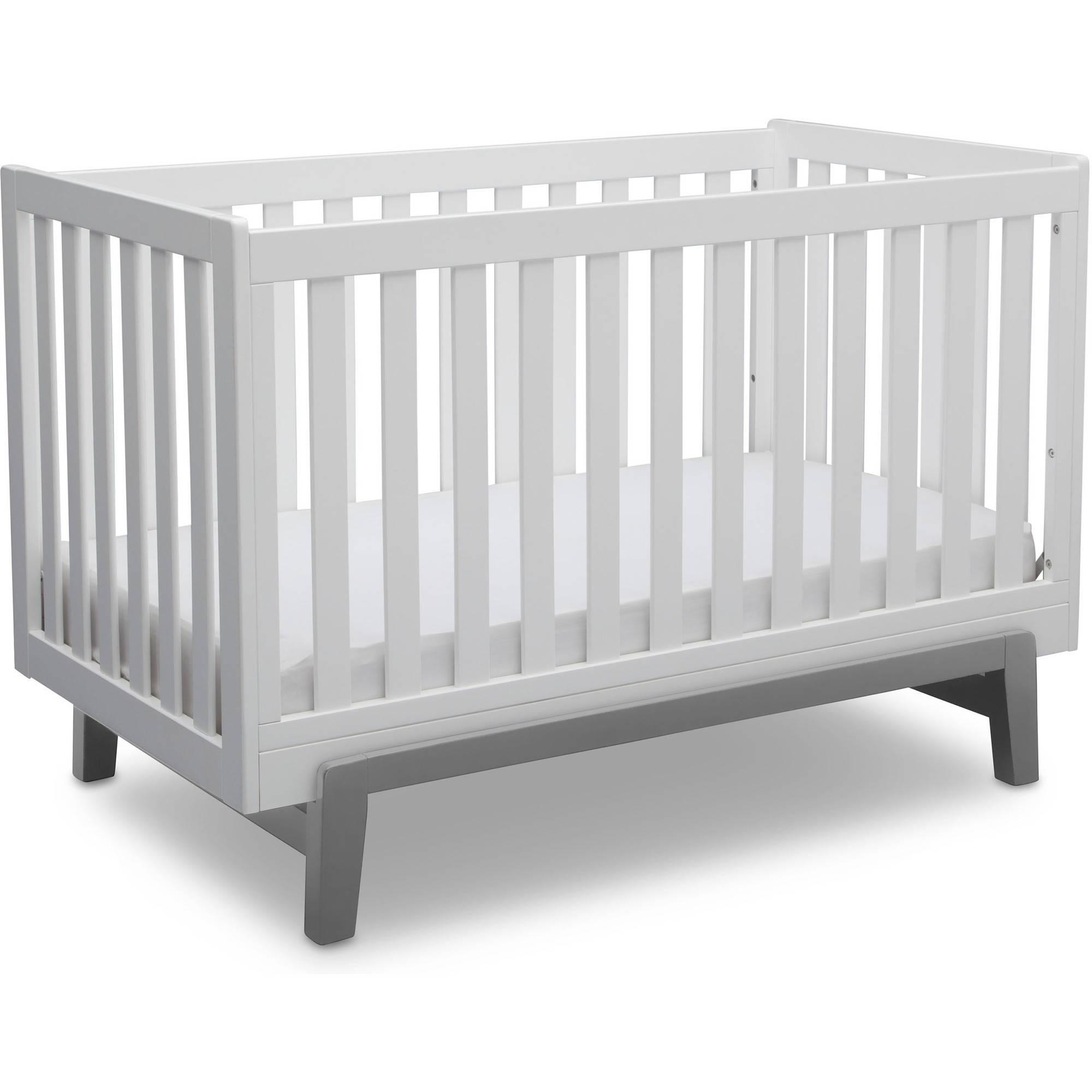 Delta Children Aster 3-in-1 Convertible Crib, Bianca White with Grey
