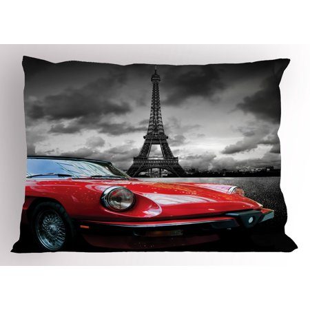 Red and Black Pillow Sham European Honeymoon Romantic City Paris Eiffel Tower Italian Car, Decorative Standard Size Printed Pillowcase, 26 X 20 Inches, Charcoal Grey and White, by Ambesonne - Paris City Size