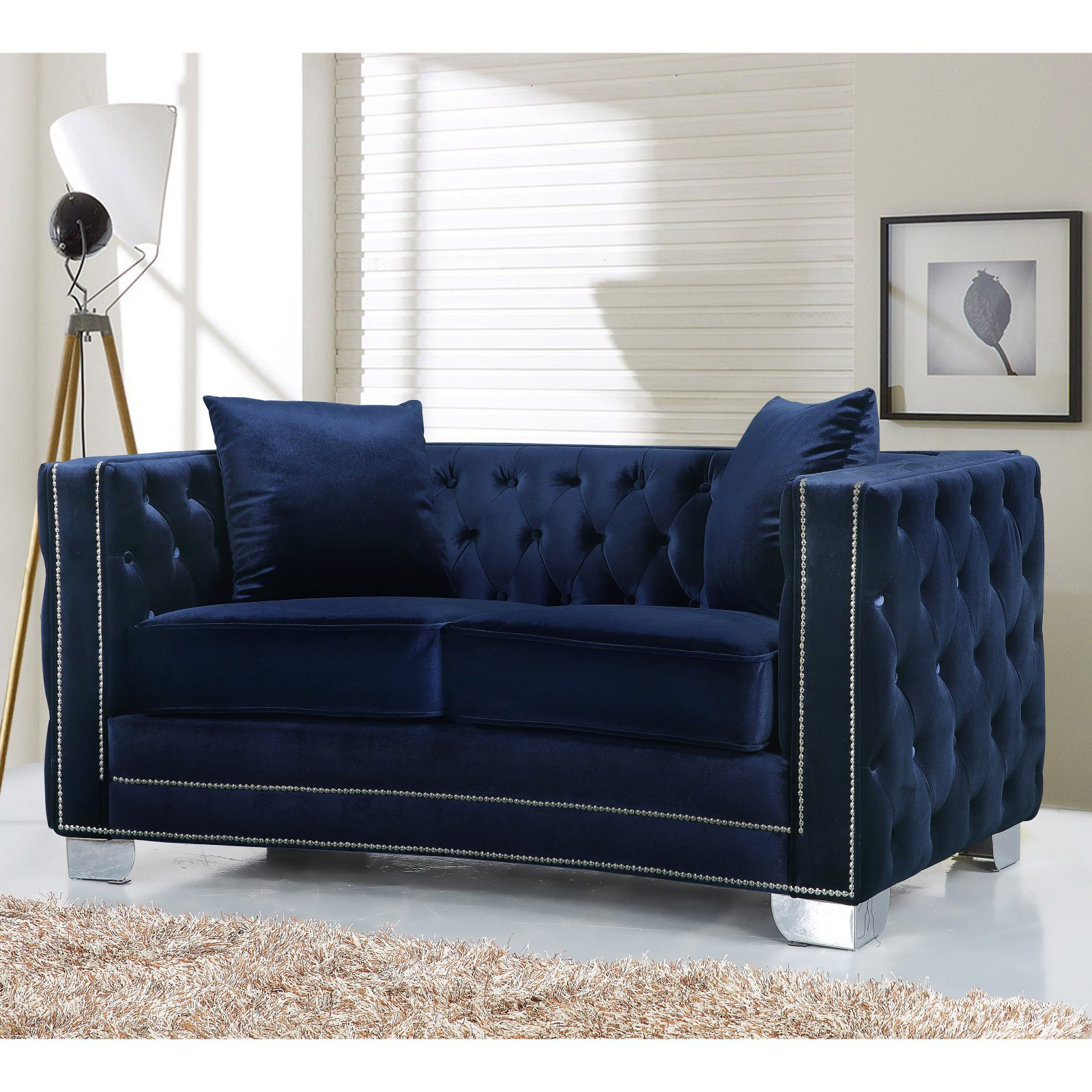 Meridian Furniture Inc Reese Loveseat with Toss Pillows