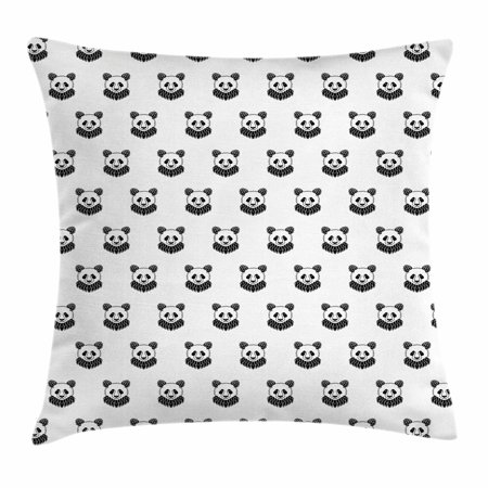 Tattoo Throw Pillow Cushion Cover, Stylized Panda Bear Portraits Cute Mascots Pattern for Children in Black and White, Decorative Square Accent Pillow Case, 16 X 16 Inches, Black White, by Ambesonne