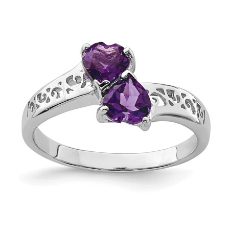 - 925 Sterling Silver Purple Amethyst Heart Band Ring Size 8.00 S/love Gemstone Fine Jewelry Ideal Gifts For Women Gift Set From Heart