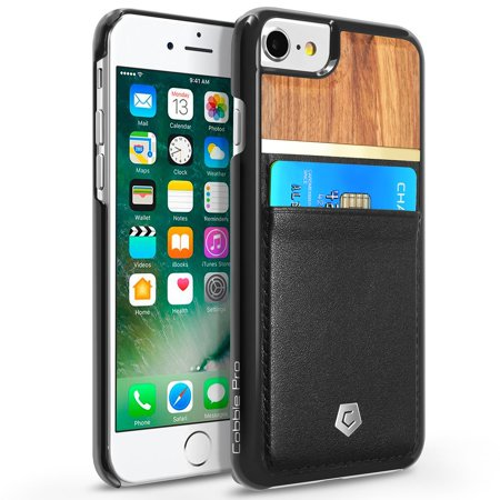 Cobble Pro For Apple iPhone 8 / 7 / 6 / 6s - Unique Design Handcrafted Bamboo Wooden / PU Leather Wallet Slim Hard Cover Case with Card slot holder - Rose Wood / Black - image 3 of 3