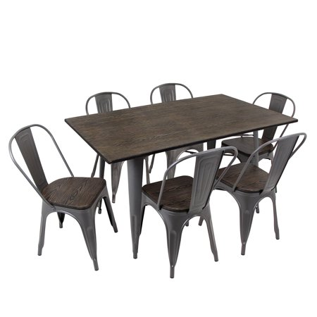 first rate 82133 b7945 Oregon 7-Piece Industrial-Farmhouse Dining Set in Antique and Espresso by  LumiSource