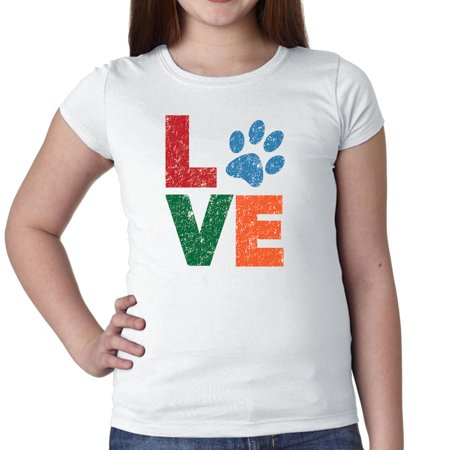 Love With Animal Print Dog Cat Pet Lover Girl's Cotton Youth T-Shirt